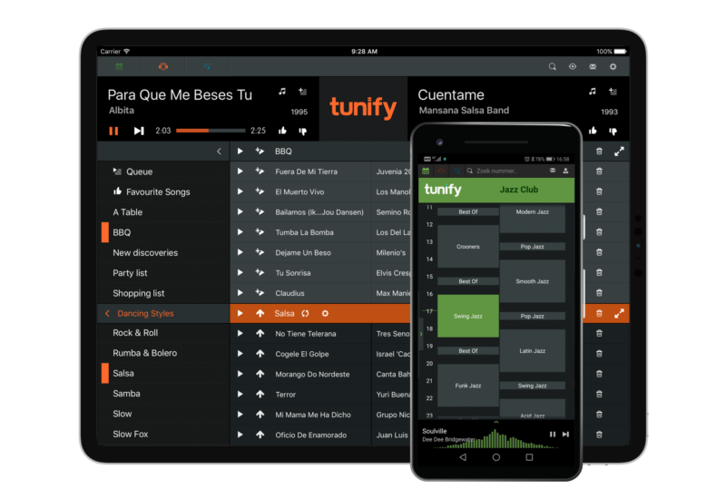 Tunify for tablet and smartphone